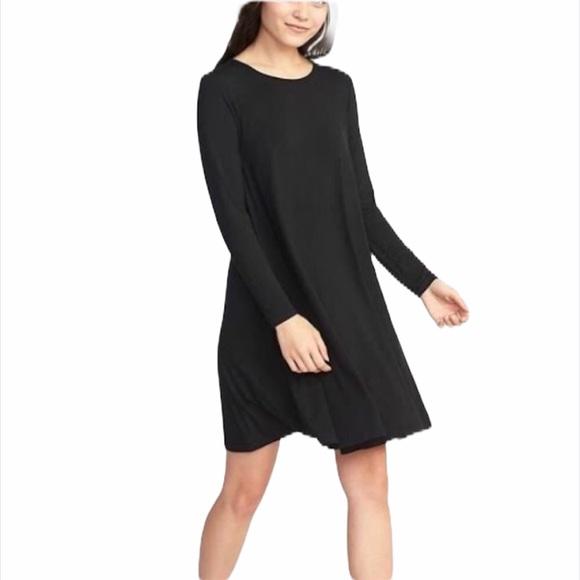 Old Navy Dresses & Skirts - OLD NAVY | Black Jersey Long Sleeve Swing Dress